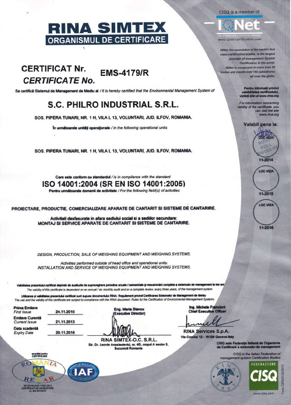 Certificare ISO14001:2005