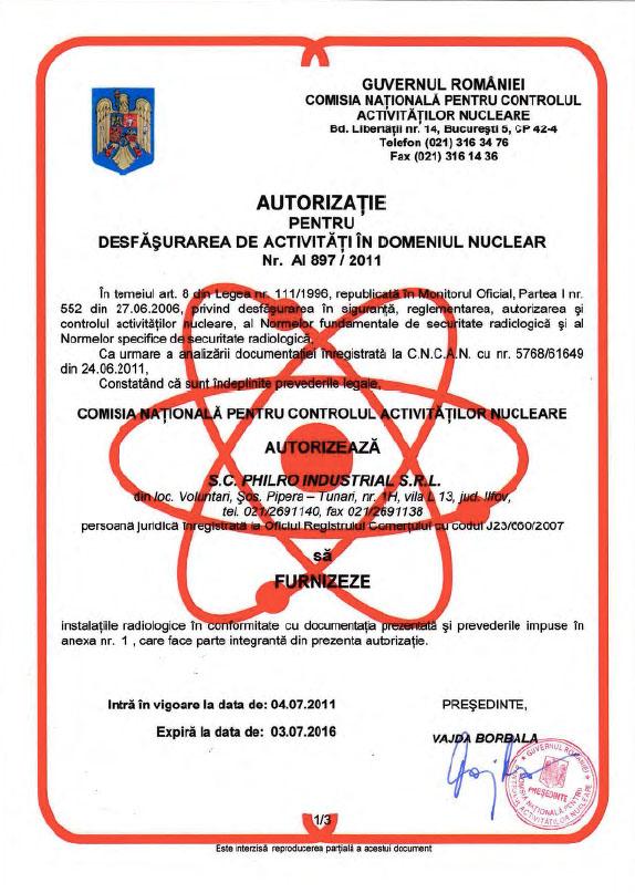 Autorizatie domeniul nuclear