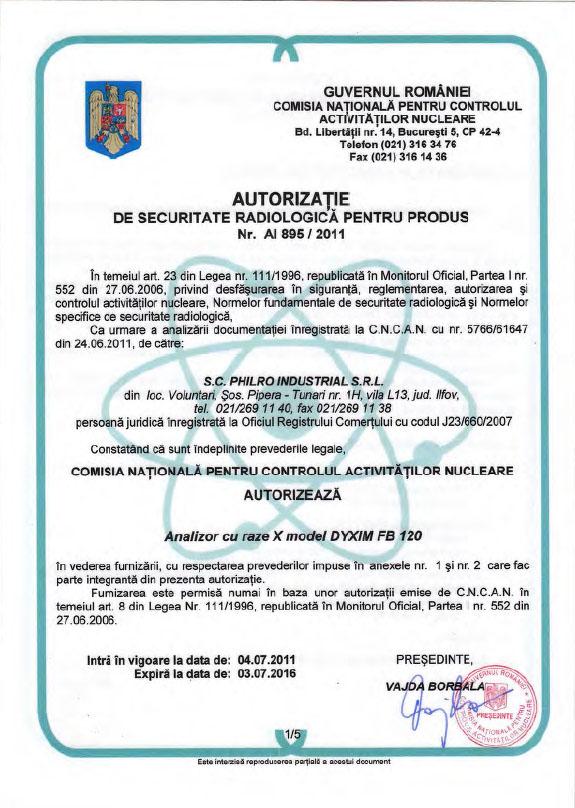 Autorizatie radiologică 895