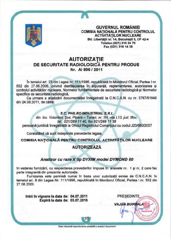 Autorizatie radiologică 896